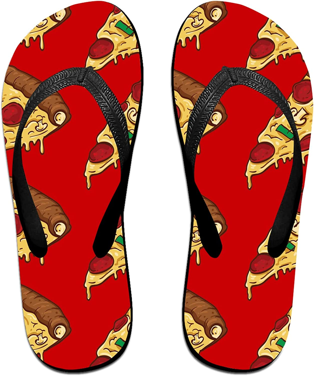 Women's Max 47% OFF Men's Flip Flop Slippers Adu Red Colorful Pizza Slices Translated