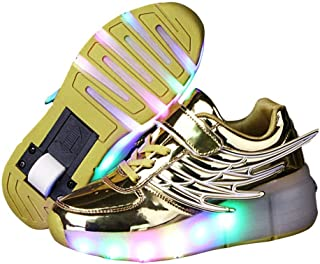 Boy and Girl's LED Light Up Roller Skate Shoes with Wheels Wings Outdoor Flashing Sneakers