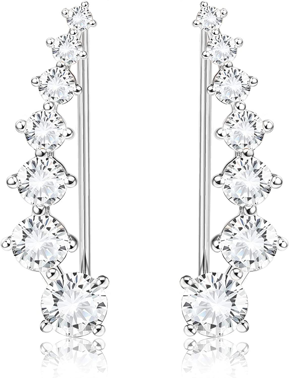 Sllaiss 925 Sterling Silver Ear Cubic Hoop Climber Austria 5 popular Easy-to-use Cuffs