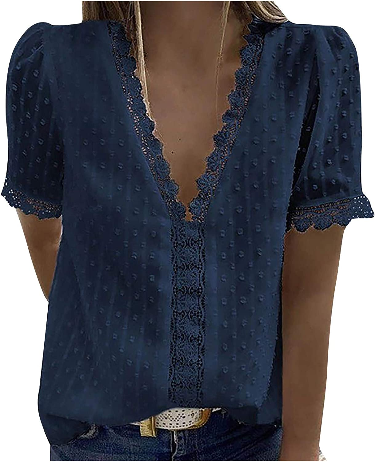 Aukbays Summer Tops for Women, Womens Lace Crochet Sexy V Neck Blouses Casual Loose Short Sleeve Soild Color Tees Shirts
