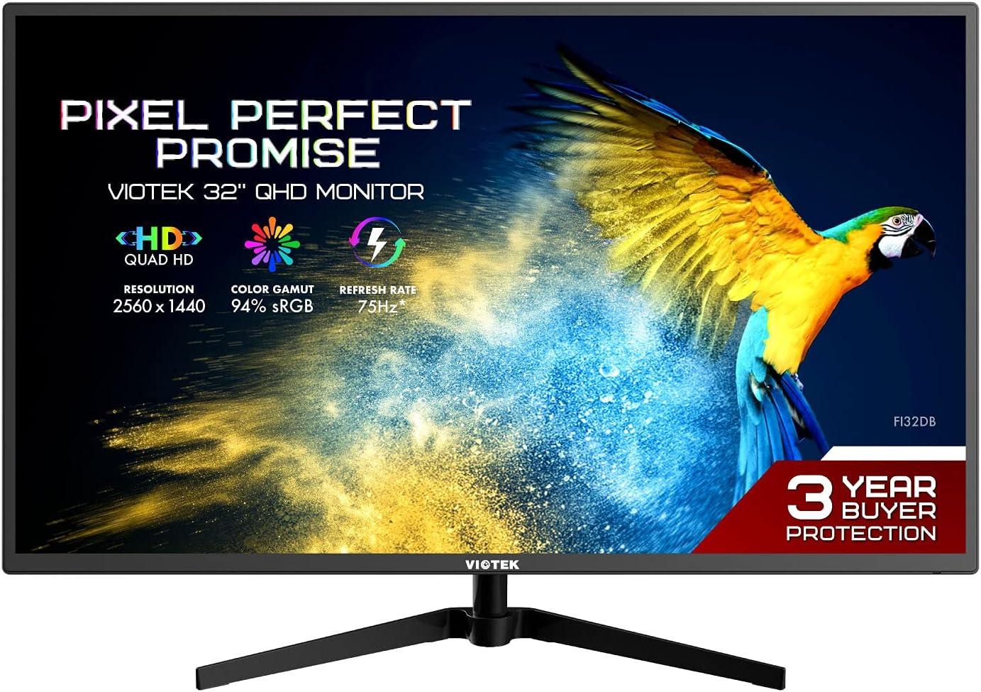 "VIOTEK FI32DB 32"" 75Hz QHD 1440p Monitor IPS 10-bit Color Display – Multi-Use Calibration for PC Gaming, Artistic Design and Entertainment via HDMI Mini-DP DisplayPort VGA – 3 Years Zero Dead Pixels"