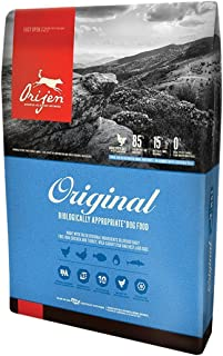 Orijen 4.5 LB Dry Dog Food, Original Formula. 4.5 LB. Bag, (Fresh Free-Run Chicken Turkey, Wild-Caught Fish NEST-Laid Eggs Original Dry Dog Food!