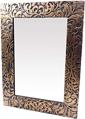 The Urban Store Wood Handcrafted Wall Mirror for Bedroom Home Décor Living Room Bathroom, 59 X 43 2.5 cm (Gold)