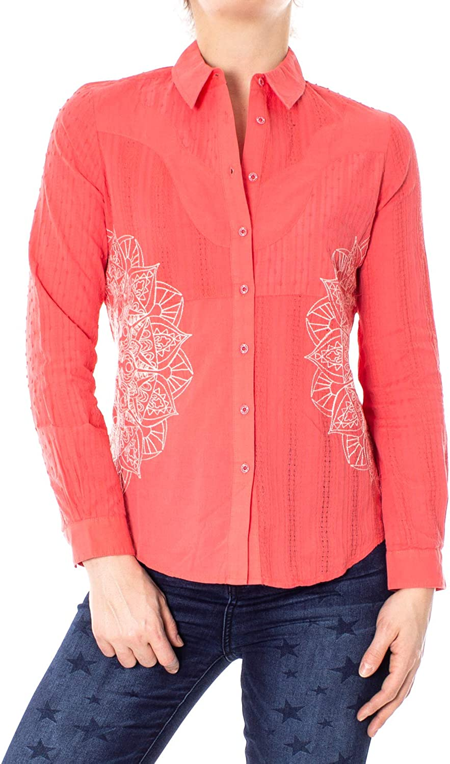 Desigual Long Sleeve Shirts Woman Cam Coral 19SWCW26