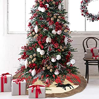 Dricar Christmas Tree Skirt, 41 inches 105 cm Xmas Tree Skirt Holiday Decorations Non Woven and Tartan Rim with Reindeer