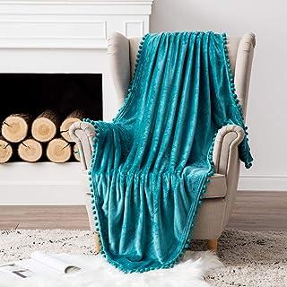 MIULEE Bedding Manta para Sófas de Franela Manta para Cama Sofa Longue Sensación de Terciopelo Grande Súper Suave Soft Largo Blanket Ligera y Cálida Felpa Manta 127x153cm 50x60inch Agua Verde