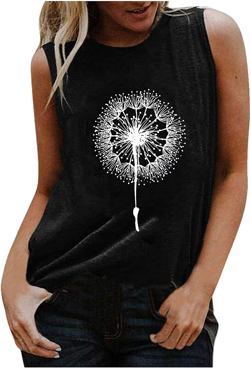 AODONG Tank Tops for Women, Womens Casual Fashion Summer Printed Sleeveless Loose Fit Tunic Tee Blouse Tops Vest Tshirt