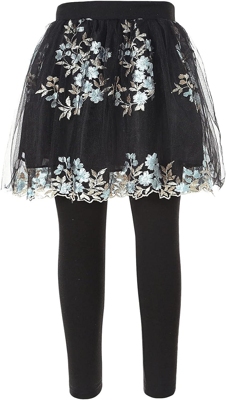 Freebily Little Girls Elastic Waist Leggings with Lace Print Skirt Athletic Casual Pantskirt for Girls Dance Training