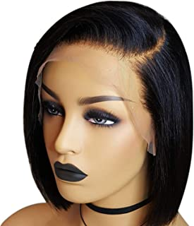 13x6 Short Bob Cut Lace Front Human Hair Wigs Pre Plucked Deep Part Frontal Brazilian Straight Wig For Women Black Color JK,Natural Color,8inches