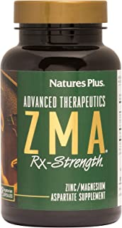 NaturesPlus ZMA Rx Strength - 90 Vegetarian Capsules - Zinc Magnesium Aspartate Supplement with Vitamin B6 - All Natural Muscle Growth, Strength & Recovery Aid - Gluten-Free - 30 Servings