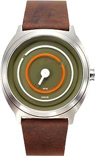 ساعة يد رجالية من تاكس ، انالوج بعقارب ، سوار جلدي ، بني ، TS1203C