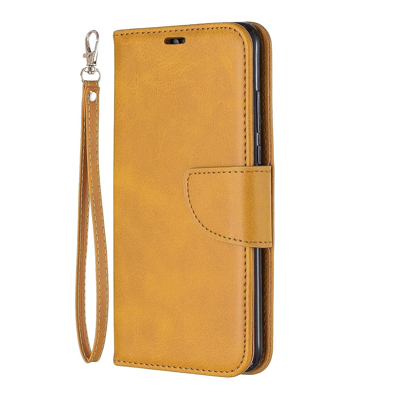単調なむき出し限界NEXCURIO Huawei P30 Lite/nova 4e ケース 手帳型 PU レザーケース 耐衝撃 カード収納 スタンド機能 マグネット式 ファーウェイP30Lite ケース 携帯カバー おしゃれ - NEBFE150364 黄