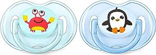 Philips Avent Klassik Design Schnuller 0-6 Monate SCF169/35, Doppelpack, Jungen, Krabbe/Pinguin