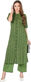 Meera Fab Women's Rayon Printed Kurti with Palazzo (Green)