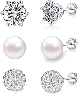 YooAi 3 Paia di Orecchini di Perle di Cristallo Set di Orecchini di Perle di Cristallo con Zirconi per Le Donne Ragazze