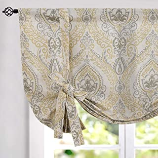 jinchan Tie Up Curtains Shade for Living Room Damask Printed Paisley Rod Pocket Drapes Multicolor Medallion Flax Window Curtain 1 Panel 45 inches Long Yellow
