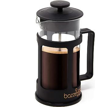 Bazzeff Prensa Francesa de Vidrio/Cafetera Francesa. Color Negro. Para Café o Tisana. Disponible en 350 ml (1 taza) 800 ml (2 tazas) y 1 Litro (3 Tazas). french press (350 ml)