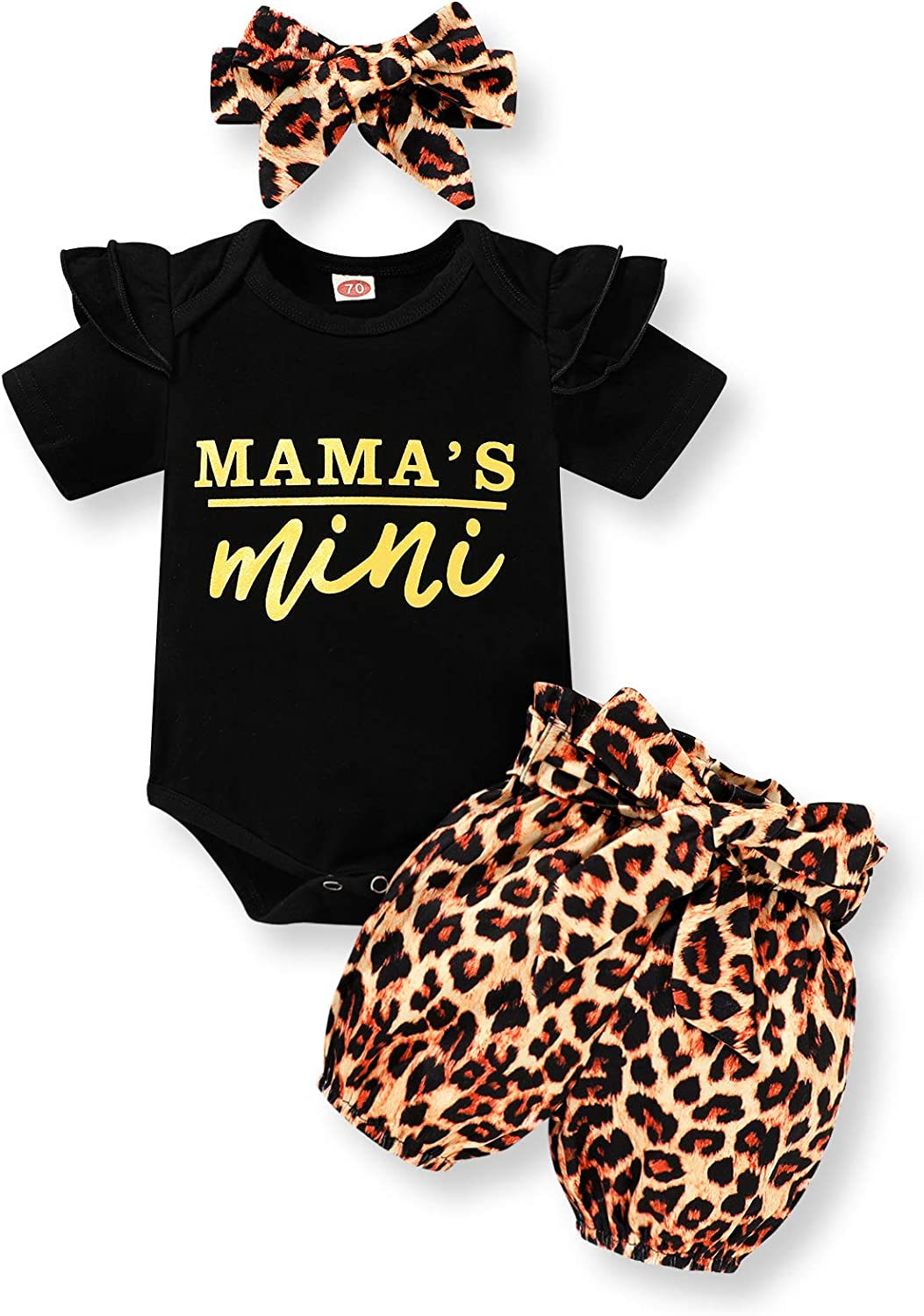 Baby Girl Summer Clothes Flying Sleeve Letter Romper+Leopard Shorts Outfit Set Spring