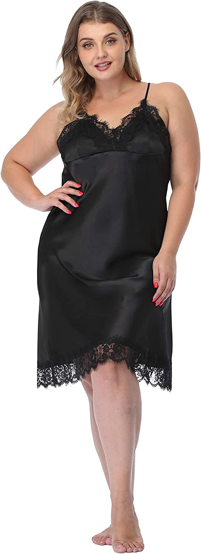 ABC-STAR Women Plus Size Lingerie Satin Lace Chemise Nightgown Sexy Full Slips Sleepwear