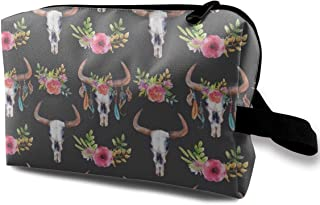Flower Bull Skulls Travel Makeup Cute Cosmetic Case Organizer Portable Storage Bag for Women