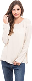 Abbino Sabrina Women's T-Shirts Tops–Made in Italy–Spring Summer Basics Tshirts T Misses 'Shirts Women's Tops Long Sleeve Waist Length Scoop Neck Plain Colours SALE Casual Sexy Festive–5Colours
