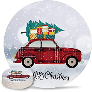 4 Piece Drink Coaster Absorbing Stone Coaster Cork Base Merry Christmas Vintage Red Car with Gifts Christmas Tree Snow Scene Absorbent Stone Coaster Set Housewarming Gift for Home Decor