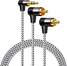 3.5mm to RCA Cable 3FT, CableCreation Angle RCA to 3.5mm Cable, 2RCA Male to 3.5mm Male Stereo Y Splitter Adapter Compatible with Phones, Laptop, HDTV, Speaker, Home Theater, Bluetooth Receiver