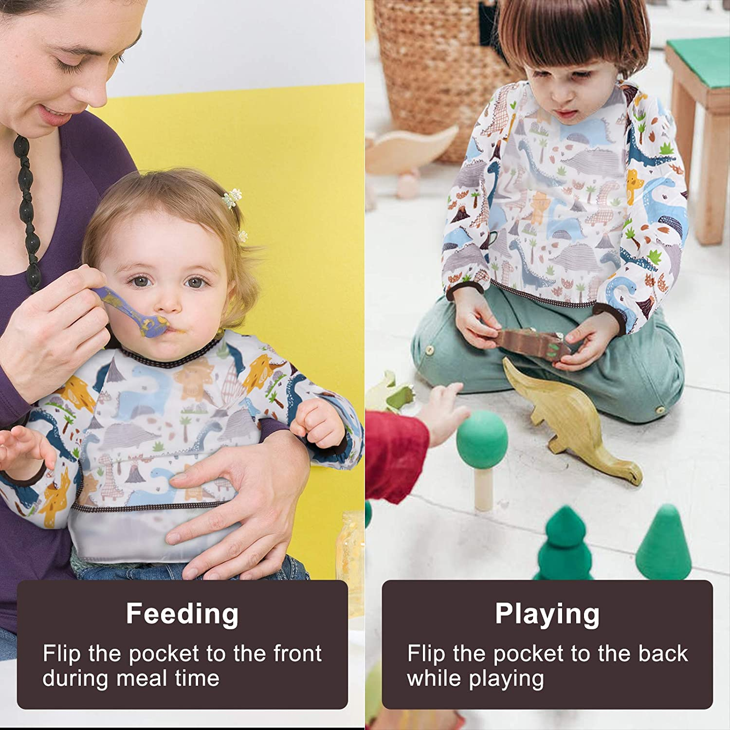 Toddler Bib with Sleeves for Feeding Waterproof Baby Bibs with Pocket 6-24 Months Accmor 3Pcs Baby Long Sleeve Bib