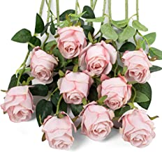 LuLuHouse Silk Rose Flower Artificial Roses with Long Stems for DIY Wedding Bouquets..