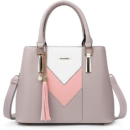 Pomelo Best Damen Handtasche Mehrfarbig gestreift V-förmiges Design (Grau-Rosa-Weiß)