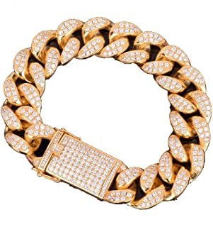 Exaggerated Heavy Chunky Iced Out Cubic Zirconia Curb Link Miami Cuban Bracelet for Men's Hip Hop Rapper Jewelry Gift