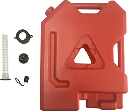Landrol 2-Gallon Gas Container Plastic Gasoline Can Spare & Portable Fuel Station Pack Red: image
