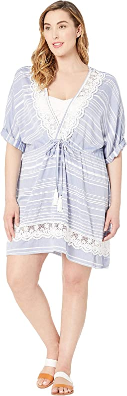 Plus Size Tassel Talk Shirt Tunic Cover-Up