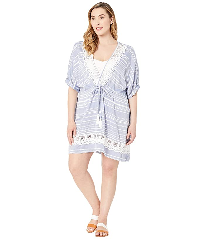 DOTTI Plus Size Tassel Talk Shirt Tunic Cover-Up (Denim) Women