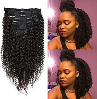 KeLang Afro Kinkys Curly Clip in Hair Extensions for African American Black Women Kinky Curly Clip ins 3C 4A Double Weft Natural Black 8pcs 120g/Set 14INCH