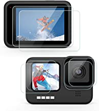 Screen Protector for GoPro Hero 10/9, Ultra Clear Tempered Glass Screen Protector + Lens Protector + Small Front Screen Pr...