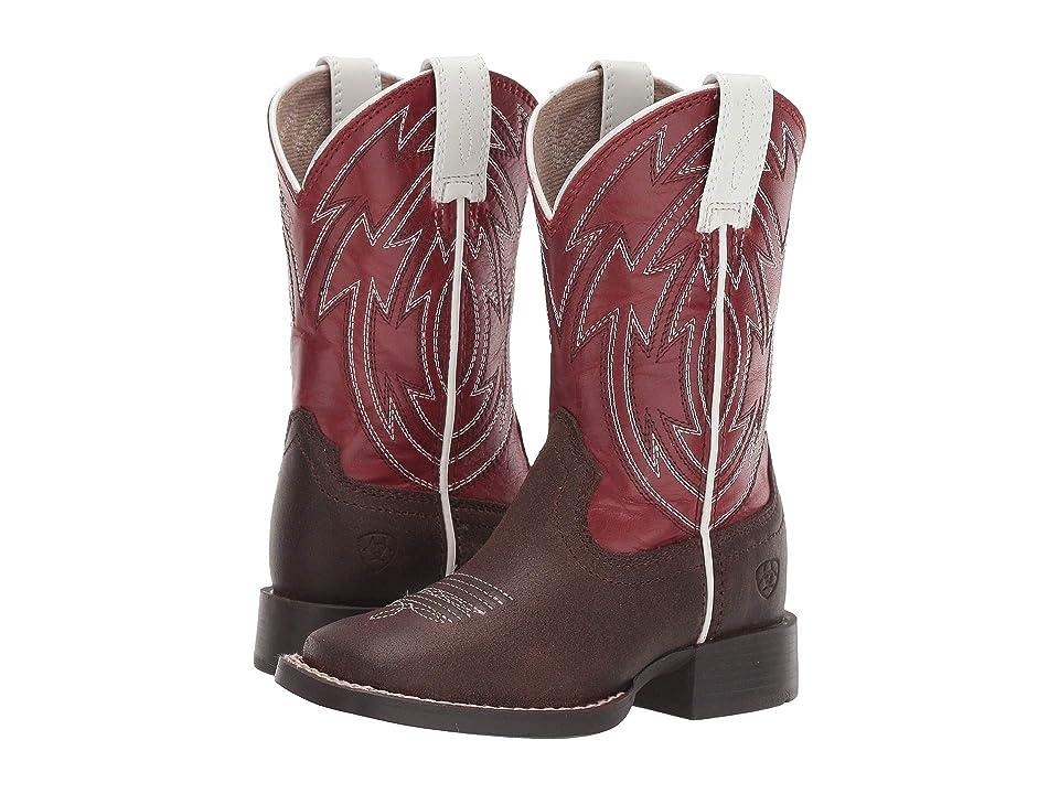 Ariat Kids Crossdraw (Toddler/Little Kid/Big Kid) (Java/Chili Red) Cowboy Boots