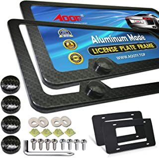 Aootf Carbon Fiber License Plate Frames - Aluminum Slim Size Black License Plate Covers, Front & Rear Holder with Stainless Steel Screws, Carbon Fiber Pattern Screw Caps and 2Pcs Anti-rattle Foam Pads