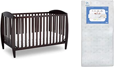 Delta Children Archer 3-in-1 Convertible Baby Crib, Dark Chocolate + Delta Children Twinkle Galaxy Dual Sided Recycled Fiber Core Crib and Toddler Mattress (Bundle)