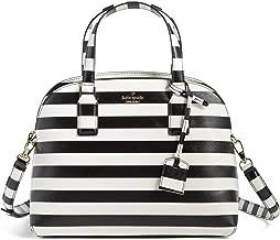 kate spade new york lottie striped top handle bag, black cream
