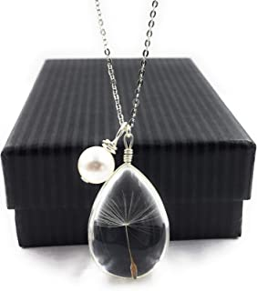 Popular Dandelion Wish Pendant Necklace with Swarovski Crystal Pearl Charm on 18 inch Sterling Silver Chain by Aimee Tresor Jewelry