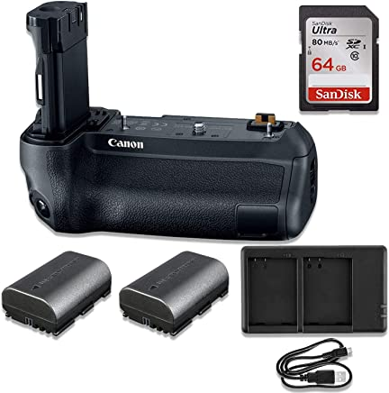 Canon BG-E22 Battery Grip for EOS R Mirrorless Camera with Pro Bundle Including 64GB Memory, 2X Batteries & USB Charger
