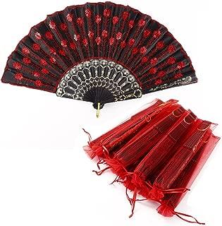Surepromise 10er Handfächer Taschenfächer Klappfächer Stofffächer Schwarz Rot Kunststoff mit 10 Organzabeutel für Hochzeit Party Gastgeschenk