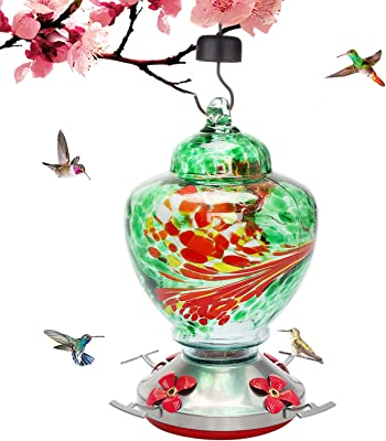 Morinome Hummingbird Feeder with Perch, Hand Blown Glass Bird Feeder for Outdoors Include S Hook, Brush