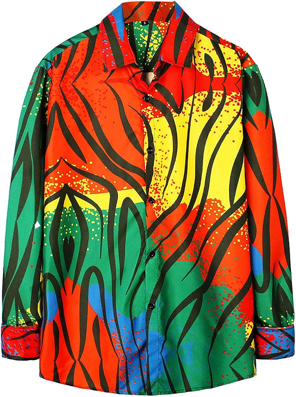 Men's Long-Sleeve Button Down Shirts Colors Printing Regular Fit Hawaiian Blouse Tops Standard-Fit Shirt
