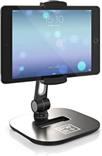 "Tablet Stands and Holders Adjustable: Pwr Stylish Tablet Cell Phone Holder 360 Degree Swivel Angle Rotation for 4-11"" Tab Phone iPad Samsung Galaxy Perfect POS Kitchen Bedside Office Table Reception"