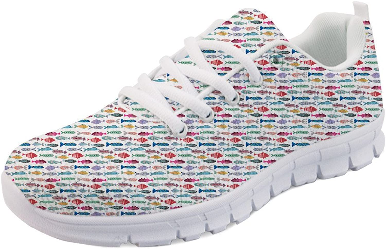 INSTANTARTS Cartoon Fish Pattern Women Lace Up Flat shoes Casual Fashion Sneaker