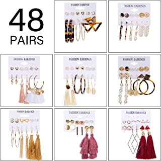 48 Pairs Tassel Earrings for Women Fashion Bohemian...