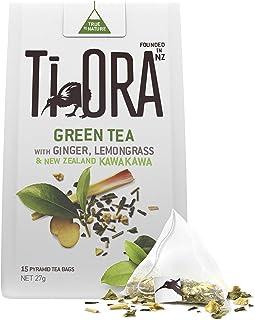 Ti Ora Green Tea - with Ginger, Lemongrass & New Zealand Kawakawa - 4 Packs of 15 Pyramid Tea Bags (60 serves)