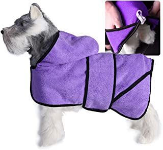 DOZCA Dog Bathrobe Towel, Super Absorbent Hooded Puppy Robe with Side Pockets, Microfibre Doggie Pet Drying Towels for Aft...